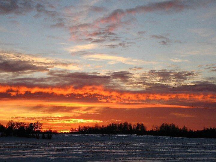Loojuv päike käreda külmaga